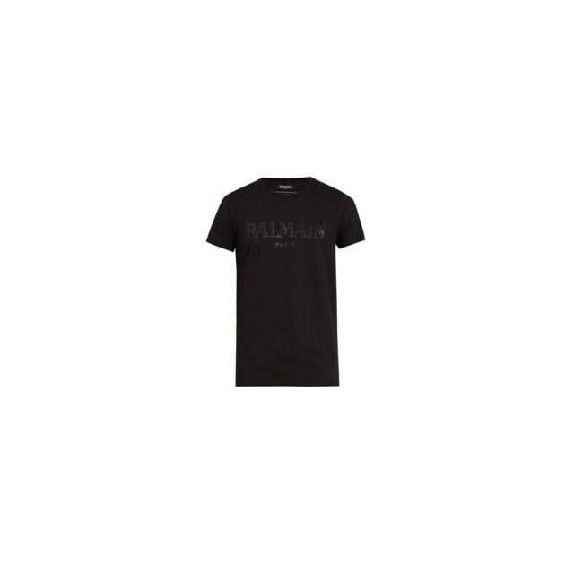 BALMAIN T shirt imprimé noir ton sur ton