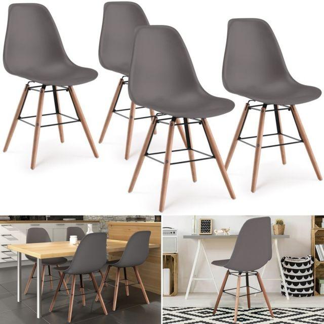 idmarket chaises x4 design scandinave grises pieds bois pas cher achat vente chaises. Black Bedroom Furniture Sets. Home Design Ideas