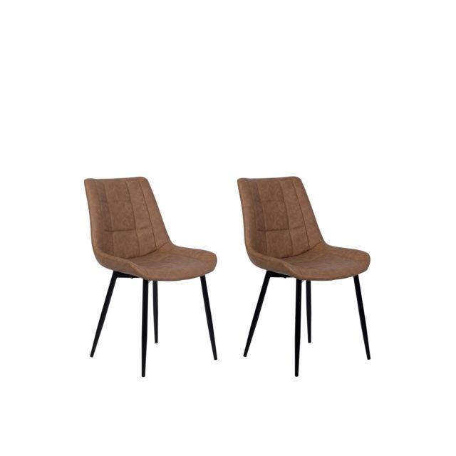 Lot de 2 chaises en simili cuir marron MELROSE beige