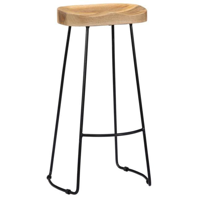 Icaverne Tabourets & chaises de bar reference Tabourets de bar Gavin 2 pcs Bois de manguier massif