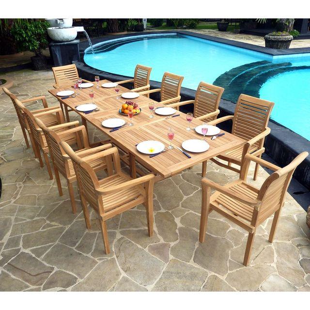 Wood En Stock - Salon de Jardin en Teck Table 3 mètres 10 fauteuils ...