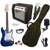 Vision - Pack Guitare Electrique, Ampli15W, Accordeur électronique 7 Accessoires, Bleu