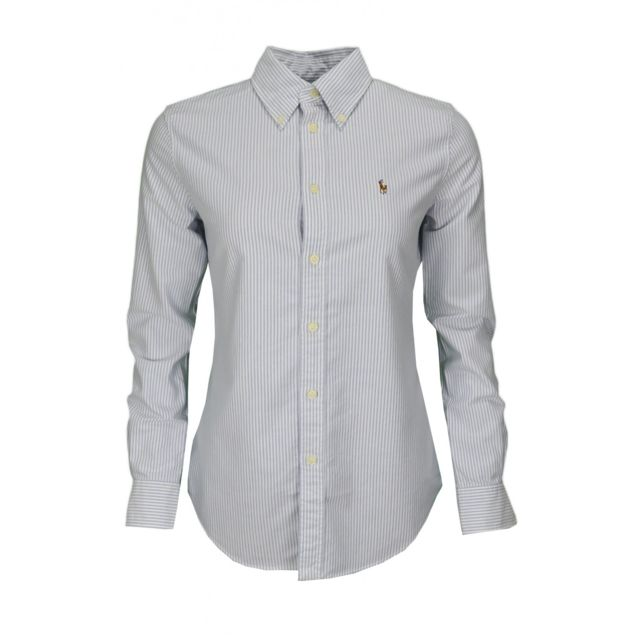 a1bf17cff054 Ralph Lauren - Chemise Harper rayée bleu et blanche pour femme - pas cher  Achat   Vente Chemise femme - RueDuCommerce