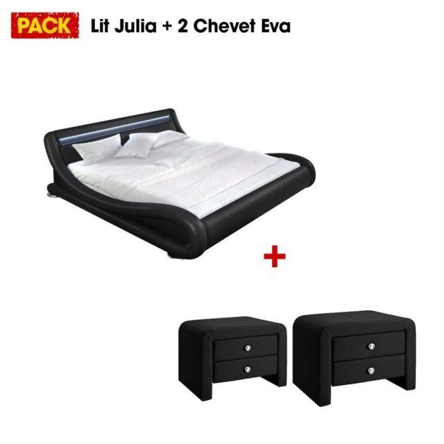 MEUBLER DESIGN Lit design Julia 140 avec 2 tables de chevet noir