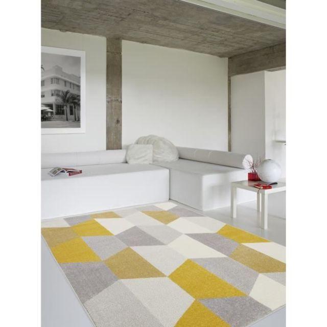 Tapis - Dessous De Tapis Tapis de salon Madrid style scandinave 120x170 cm  gris et jaune