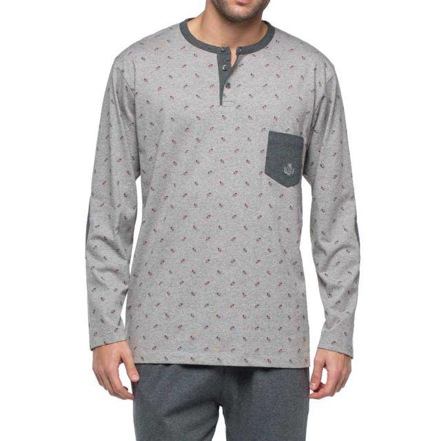 2888bb1e582b6 Guasch - Pyjama long en jersey de coton : tee-shirt manches longues col  tunisien gris chiné à motifs et pantalon gris anthracite chiné - pas cher  Achat ...