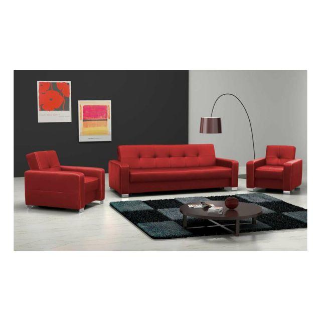 Justyou - Leo Ensemble meubles de salon en cuir Rouge - pas cher ...