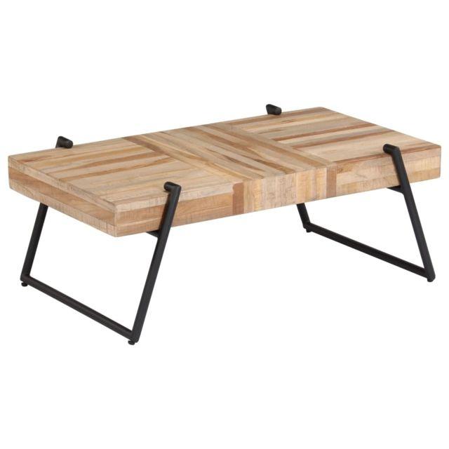 Vidaxl Table Basse Teck Recyclé Table de Salon Table de Canapé Meuble Séjour