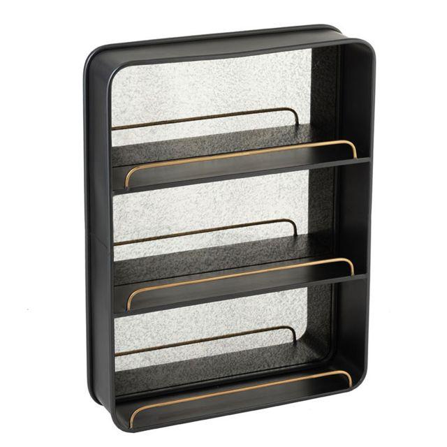 Tousmesmeubles Miroir avec 3 étagères Métal noir - Ninove n°1