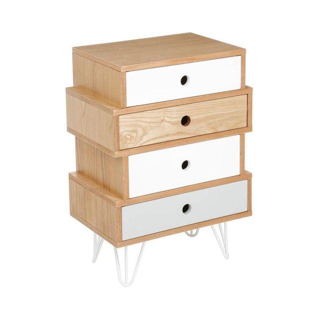 jja le depot bailleul commode shulg 4 tiroirs gris et blanc pas cher achat vente commode. Black Bedroom Furniture Sets. Home Design Ideas