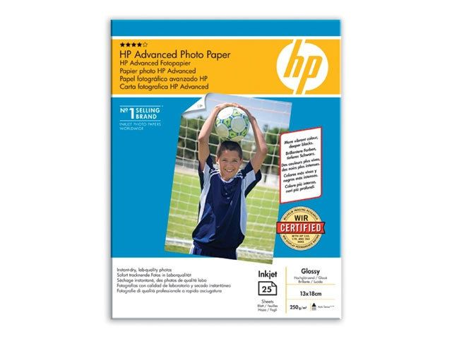 HP Papier photo 13 x 18 brillant sans bordure Advanced - 25 feuilles Papier photo avancé HP à finition brillante, 250 g/m² – 13 x 18 cm sans marge/25 feuilles