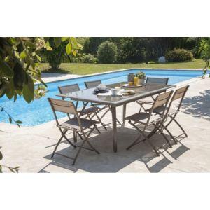 Dcb Garden - Salon de jardin - Table et 6 chaises cappuccino ...