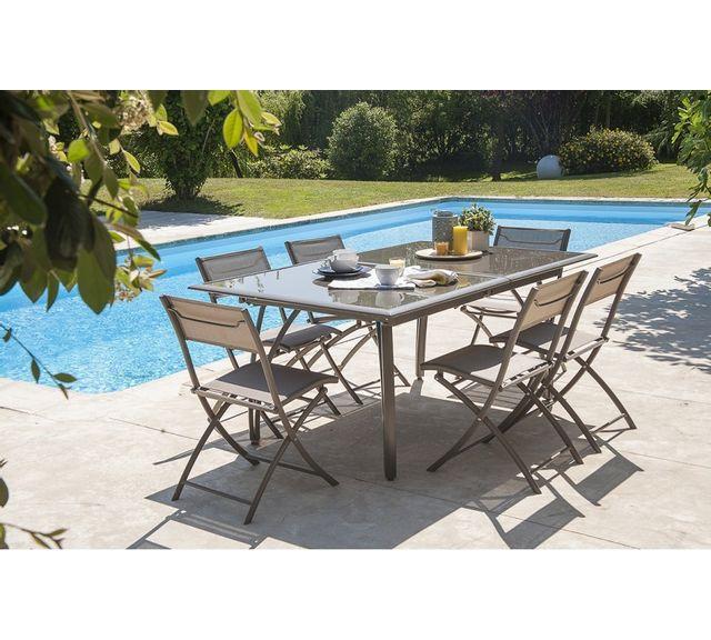 dcb garden salon de jardin table et 6 chaises cappuccino pas cher achat vente ensembles. Black Bedroom Furniture Sets. Home Design Ideas