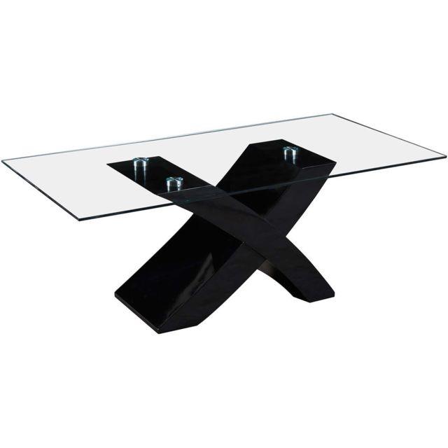 HABITAT ET JARDIN Table basse rectangulaire Tina en MDF laqué - Noir