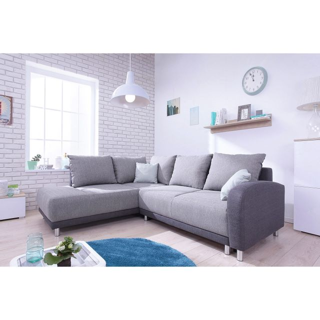 Bobochic Canapé convertible scandinave Minty Grand Angle gauche - tissu gris clair/gris anthracite