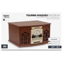Bigben - Interactive - Toune disques Radio Cd k7 2 vitesses en bois