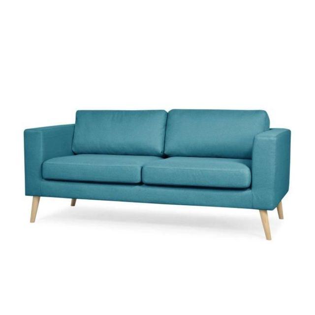 CANAPE - SOFA - DIVAN LORENS Canapé droit 3 places en tissu Bleu pétrol - L 194 x P 90 x H 87 cm