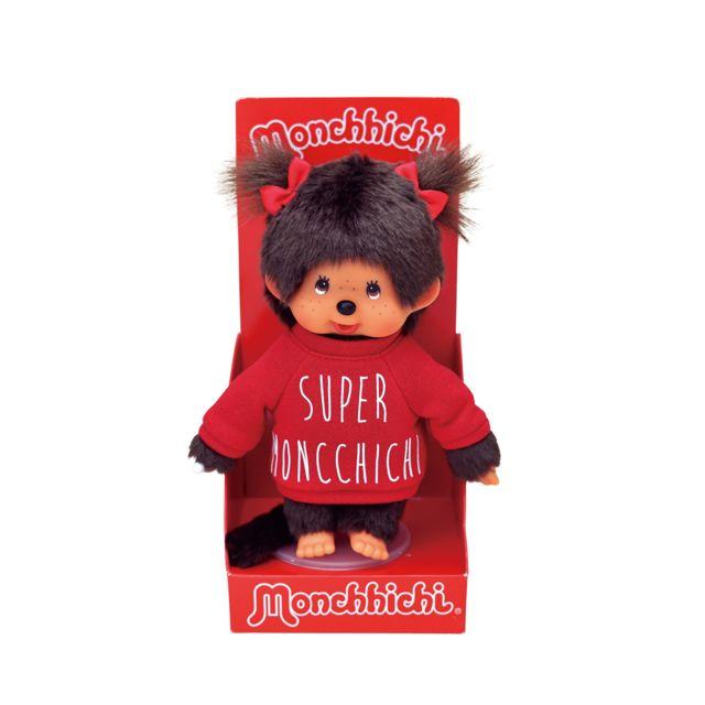 BandaÏ Monchhichi Sweat fille - 84998 Un Monchhichi en sweat, plus tendance que jamais ! Elle n'est pas trop mignonne avec son petit sweat et ses petits nœuds dans les cheveux ?
