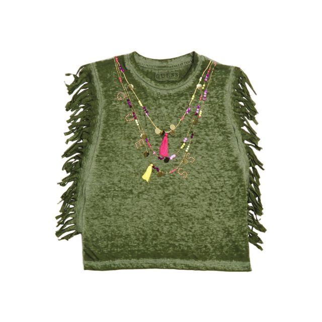 a4c5bd572de1a Guess - Guess T-shirt Fille à Franges Latérales Vert - Taille - 14 ans