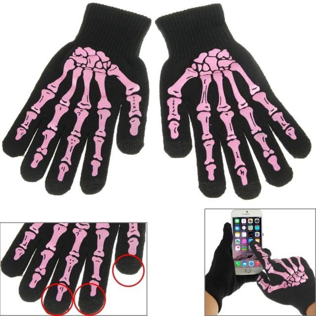 4c2149b9a824 Wewoo - Gants tactiles pour iPad rose iPhone, Galaxy, Huawei, Xiaomi, Lg,  Htc et autres smartphone Squelette doigts revêtement 3 points écran tactile  ...