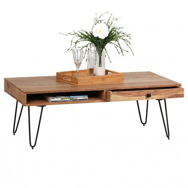 COMFORIUM Table basse en bois massif 120x60 cm à 2 tiroirs avec 4 pieds en métal coloris acacia