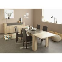 Altobuy - Leeds Brut - Ensemble Table avec Allonge + Buffet