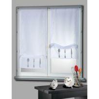 Home Maison - Voilage vitrage à passant polyester broderie couvert 50x130cm - lot de 2 Cuisine
