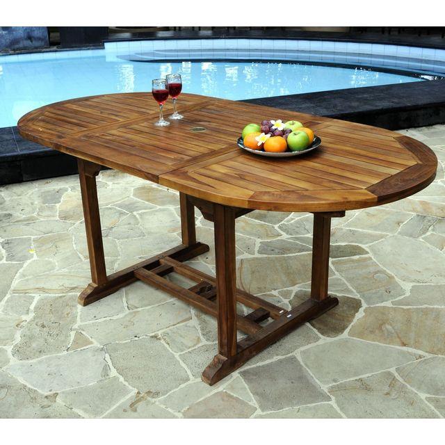 WOOD EN STOCK Table ovale de jardin en teck huilé avec rallonge papillon : 120-180 x 90 cm