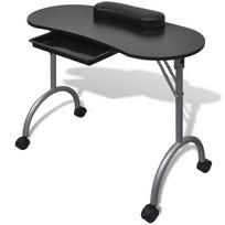 Rocambolesk - Superbe Table de manucure pliante noire avec roulettes neuf