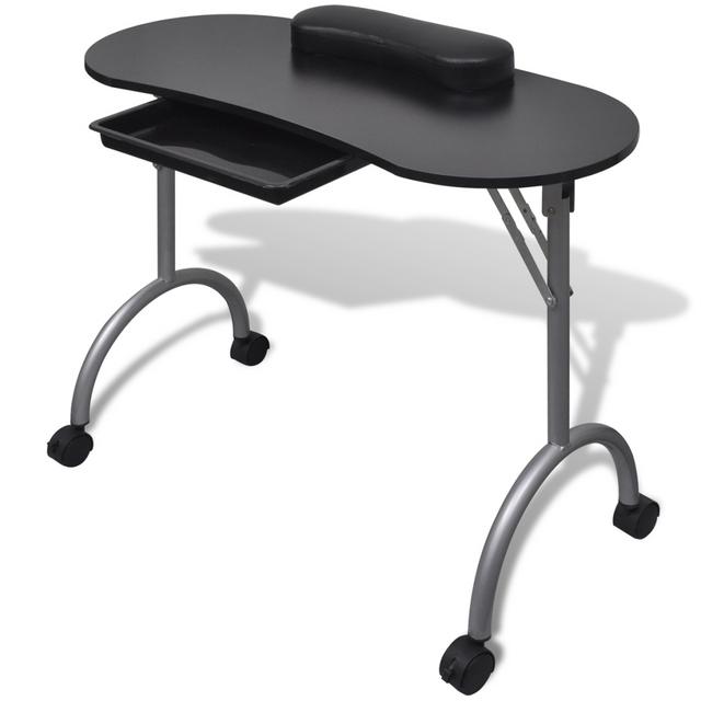 Vidaxl Table de manucure pliante noire avec roulettes