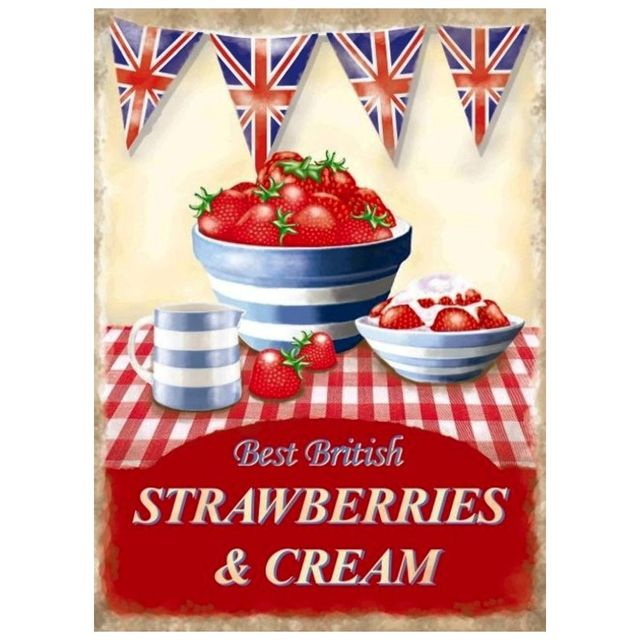 Universel Plaque stawberries cream fraise et creme tole deco cuisine