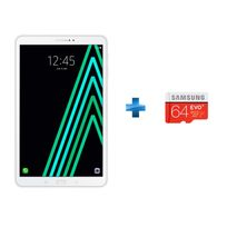 Samsung - Galaxy Tab A6 - 10,1'' Full HD - 16 Go - 4G - Blanc + Micro SDXC EVO PLUS 64 Go - Classe 10 + Adaptateur SD