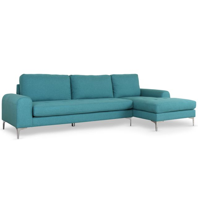 MENZZO Canapé d'angle Tal Tissu Bleu
