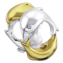 Sochicbijoux - So Chic Bijoux © Charm Perle 2 Dauphins Jeu Cercle Plaqué Or & Argent 925 - Compatible Pandora, Trollbeads, Chamilia, Biagi