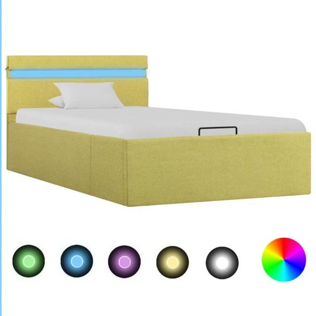 Vidaxl Cadre de lit à stockage avec Led Jaune citron Tissu 90x200 cm