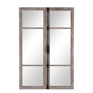 j line miroir fen tre bois naturel blanc 120 x 80 cm pas cher achat vente miroirs. Black Bedroom Furniture Sets. Home Design Ideas
