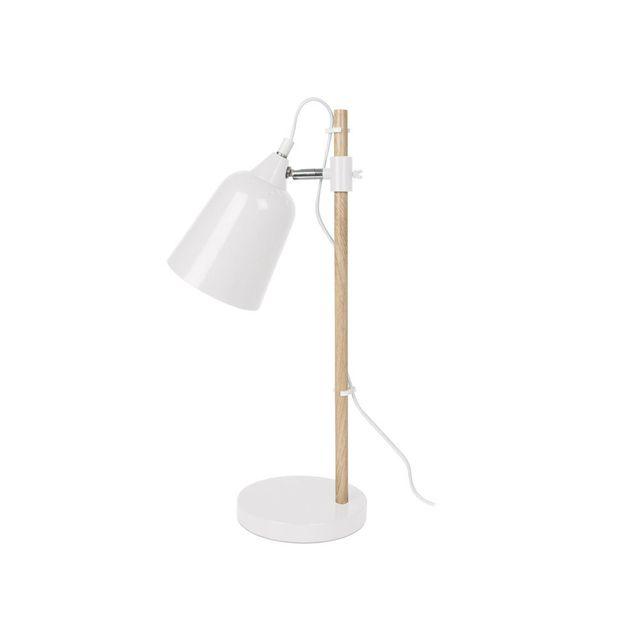 Present Time Lampe à poser forme conique en métal hauteur 48.5cm - Blanc