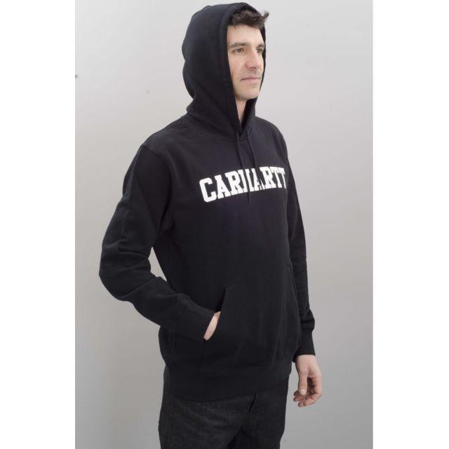 Carhartt sweat hooded College Hooded Homme Noir pas cher