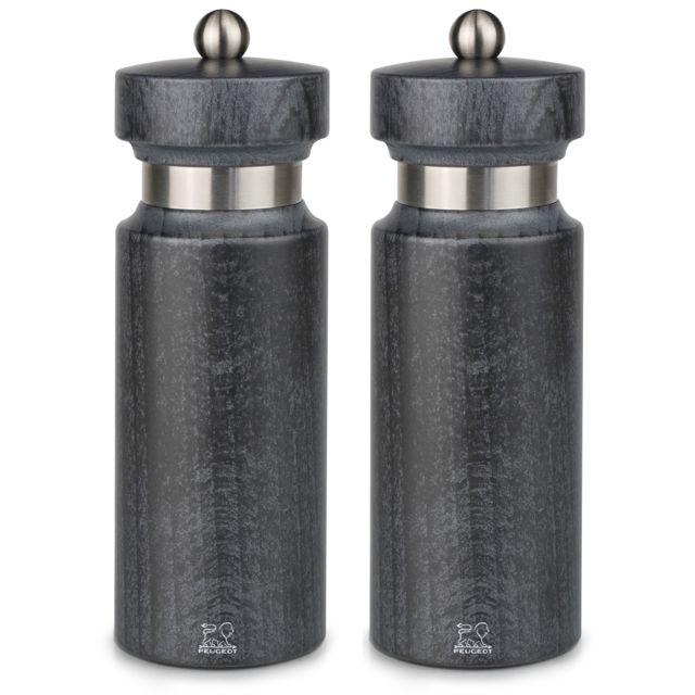 PEUGEOT moulin à poivre + moulin à sel 18cm gris - 34504 + 34511