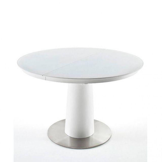 Inside 75 Table ronde extensible design Wiem blanc laqué mat diametre 120 cm