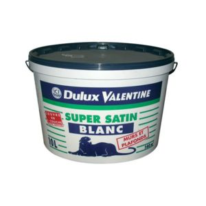 dulux valentine peinture mur et plafond super satin acrylique blanc 10 l pas cher. Black Bedroom Furniture Sets. Home Design Ideas