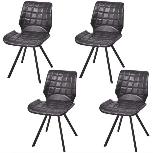Admirable Fauteuils edition Oslo Chaises de salle à manger en cuir artificiel 4 pcs Noir