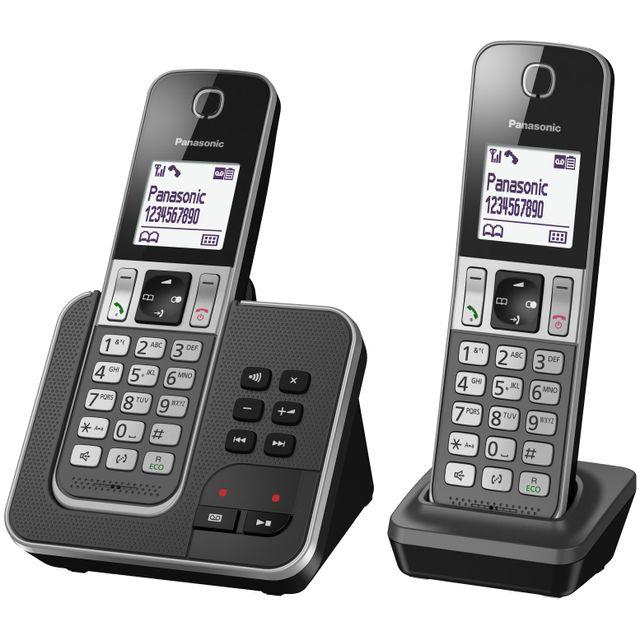 1c83aff8c6cff0 PANASONIC - Téléphone fixe sans fil avec répondeur - TGD322FRG - Duo ...