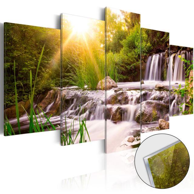bimago tableau sur verre acrylique forest waterfall glass pas cher achat vente tableaux. Black Bedroom Furniture Sets. Home Design Ideas