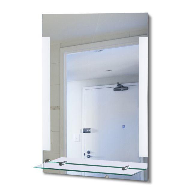 homcom miroir led lumineux salle de bain 50l x 4l x 70h cm interrupteur tactile tag re alu. Black Bedroom Furniture Sets. Home Design Ideas