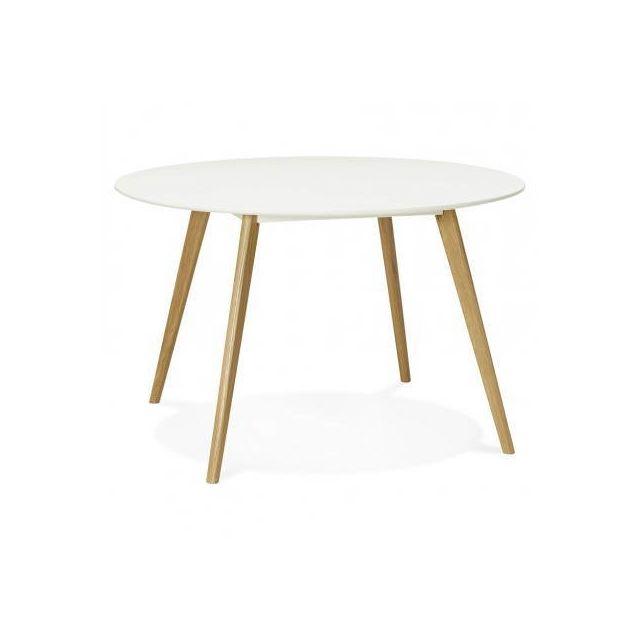 TECHNEB Table à manger style scandinave ronde MILLET en bois Ø 120 cm, blanc