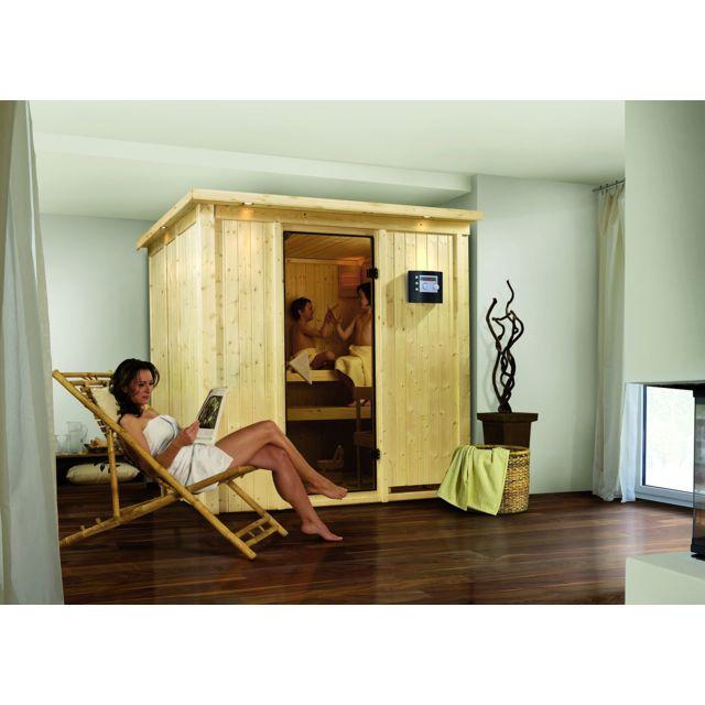 karibu sauna traditionnel daria 3 68 mm plug play l 196 x p 170 x h 198 cm pas cher achat. Black Bedroom Furniture Sets. Home Design Ideas