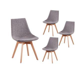 usinestreet lot de 4 chaises scandinaves loa tissu avec. Black Bedroom Furniture Sets. Home Design Ideas
