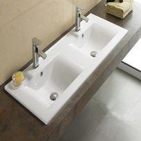 Rue Du Bain - Lavabo encastrable double vasque céramique - 120x46 cm - Space