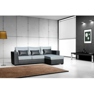 rocambolesk canap joe dolaro gris noir pvc petit coussin noir sofa divan gris noir 248cm x. Black Bedroom Furniture Sets. Home Design Ideas